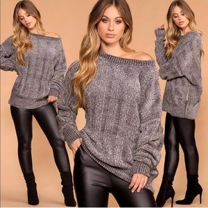 Sweaters - Grey Oversized Knit Chenille Sweater